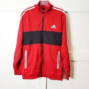 Adidas Full Zip Red Black Track Jacket 3 stripe L